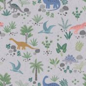 Lewis & Irene - Kimmeridge Bay - 6217 - Dinosaur Scene on Grey - A303.2 - Cotton Fabric